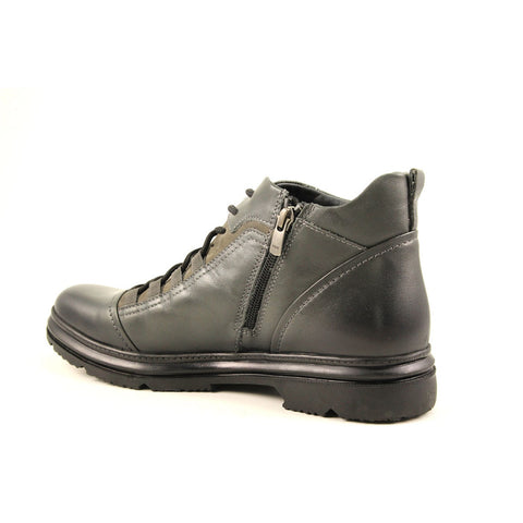 Men's Grey Leather Comfort Boots