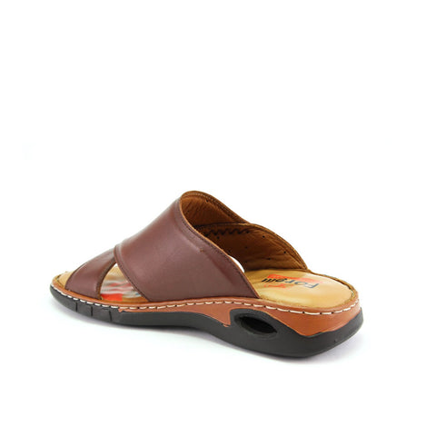 Image of Men' Brown Leather Slippers