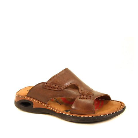 Men's Sand Beige Leather Slippers