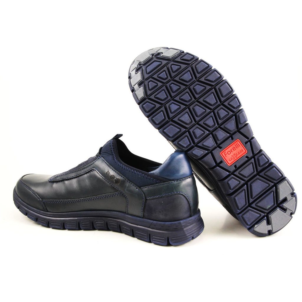 Men's Navy Blue Leather Comfort Shoes