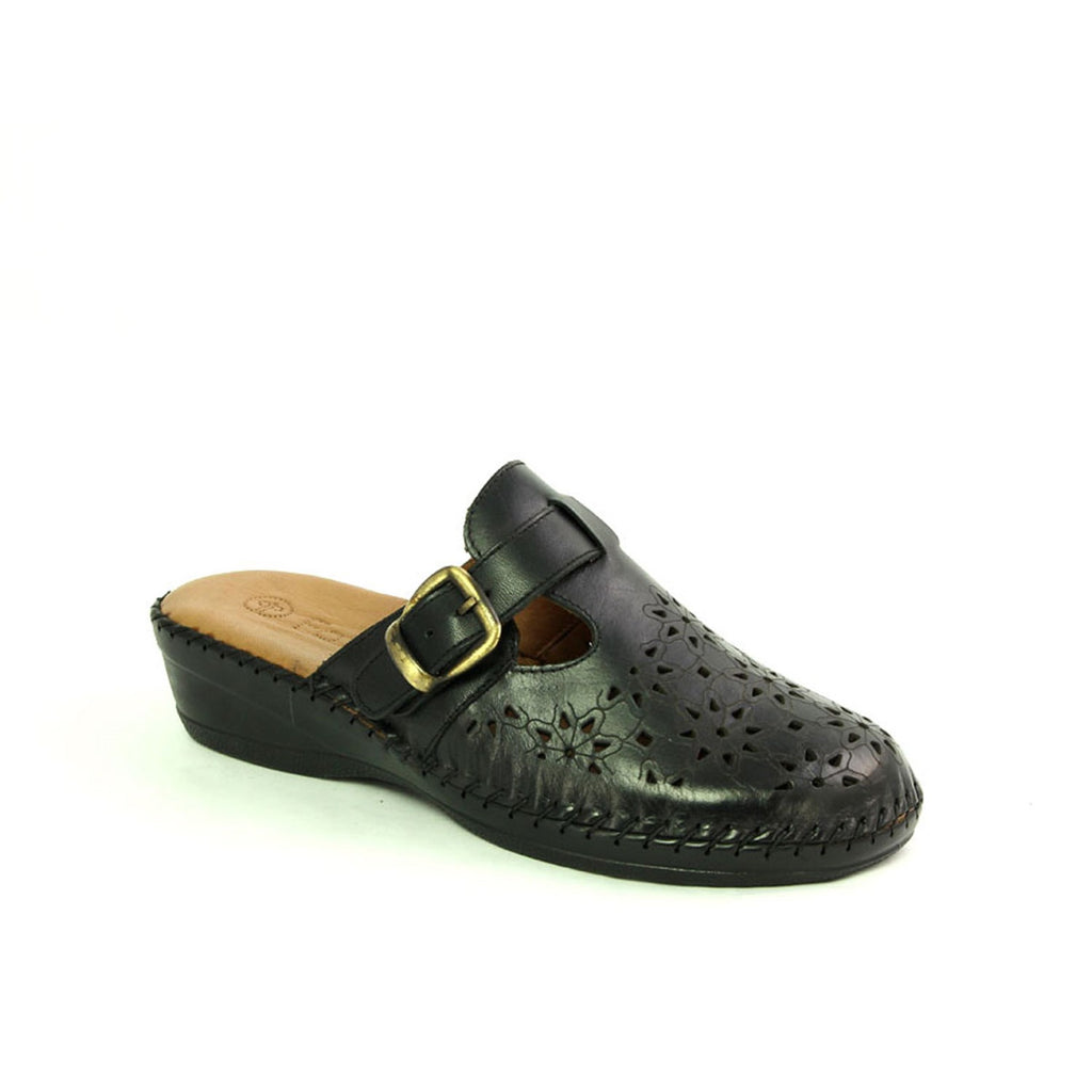Women's Black Leather Wedge Slippers