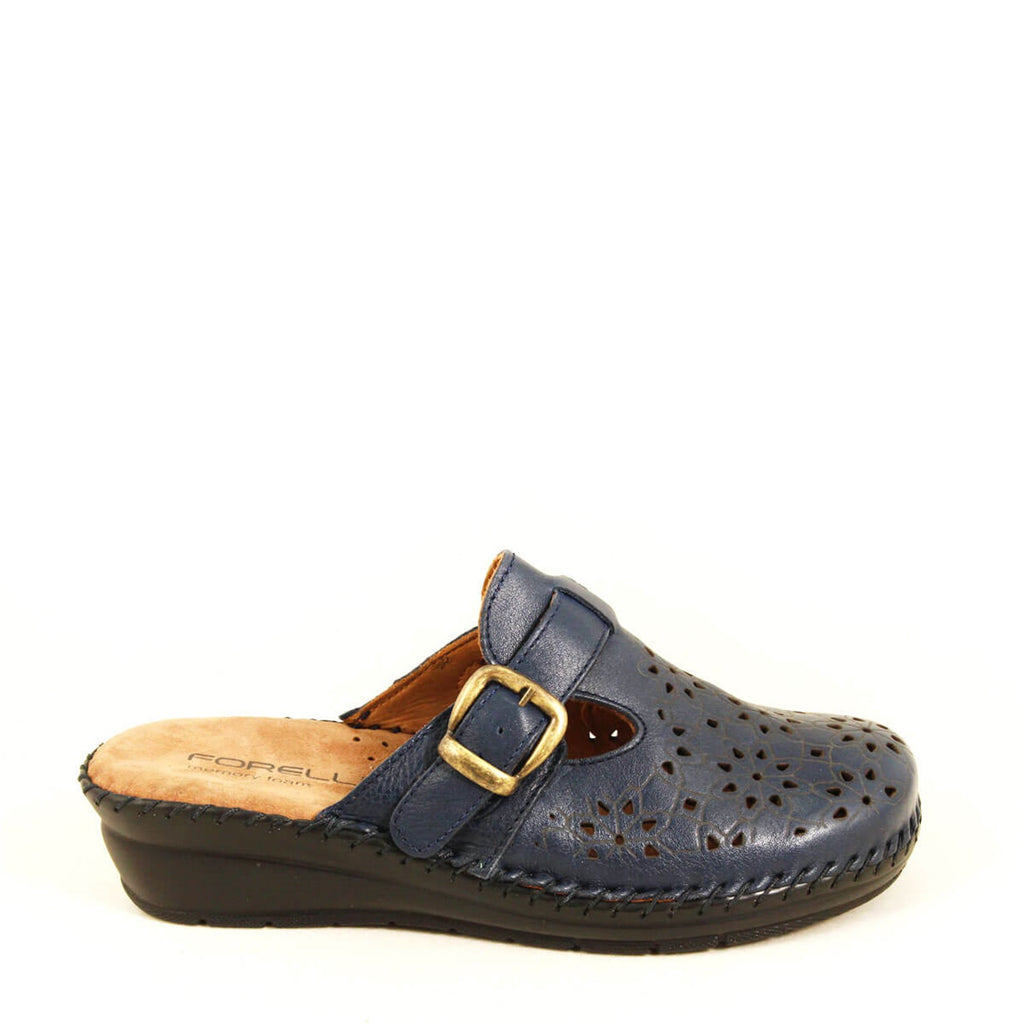 Women's Navy Blue Leather Slippers