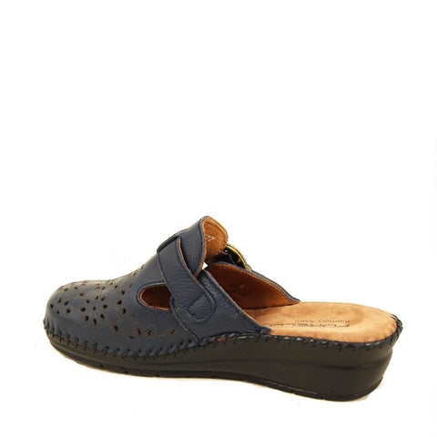 Image of Women's Navy Blue Leather Slippers