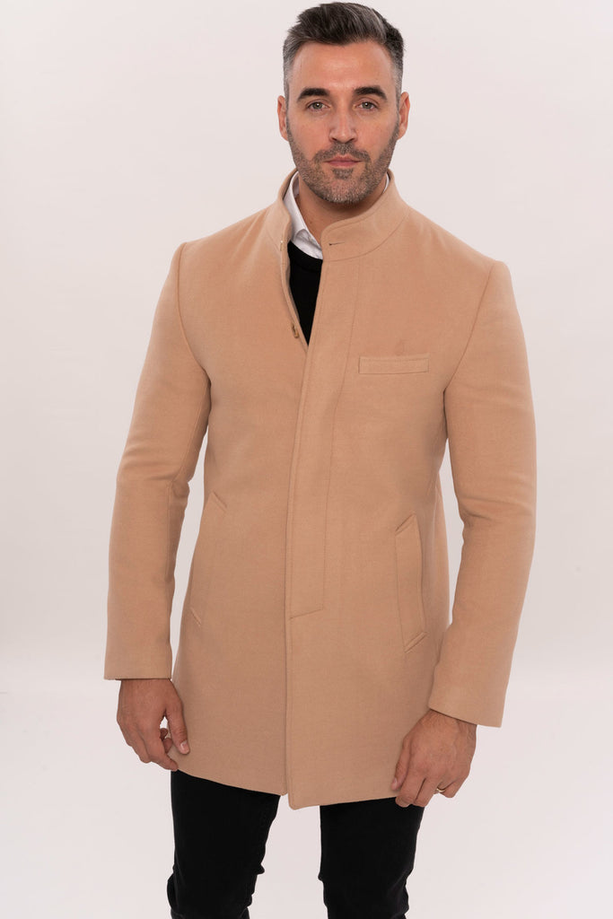 Men's Crew Neck Long Beige Coat