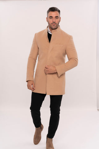 Image of Men's Crew Neck Long Beige Coat