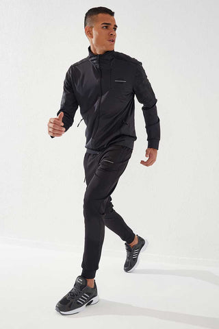 Image of Men's Hidden Zipper Camo Print Anthracite - Black Scuba Fabric Tracksuit