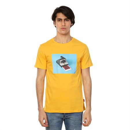 Men's Printed Yellow T-shirt