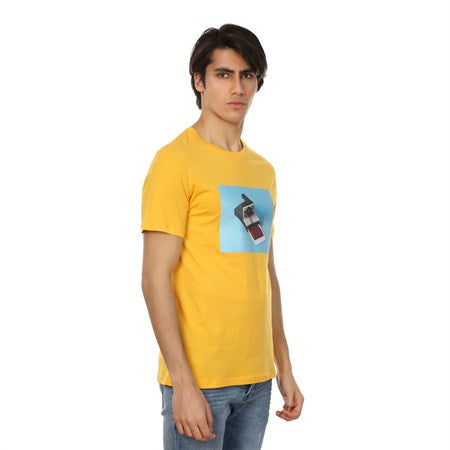 Image of Men's Printed Yellow T-shirt