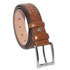 Men's Patterned Brown Leather Classic Belt- 3.5 cm