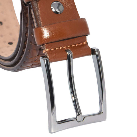 Image of Men's Patterned Brown Leather Classic Belt- 3.5 cm