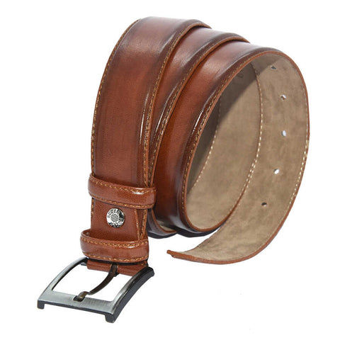 Men's Plain Brown Artificial Leather Classic Belt- 3.5 cm