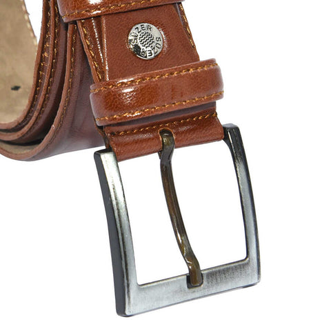 Image of Men's Plain Brown Artificial Leather Classic Belt- 3.5 cm