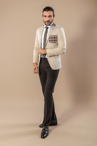 Men's Cream Cotton Slim Fit Jacket