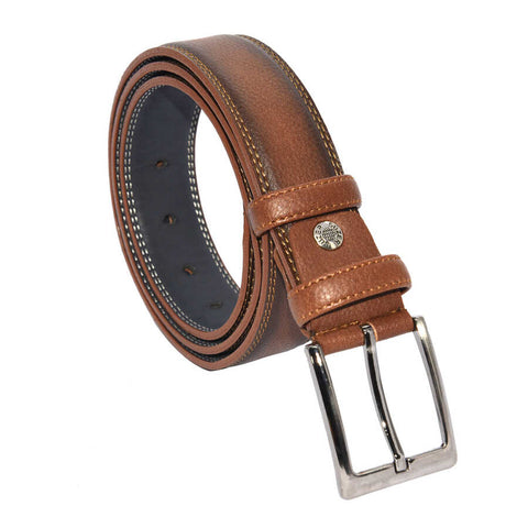 Men's Stitched Brown Artificial Leather Classic Belt- 3.5 cm