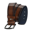Men's Plain Brown Artificial Leather Sport Belt- 4.5 cm