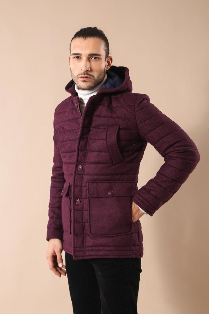Men's Hooded Claret Red Felt Coat