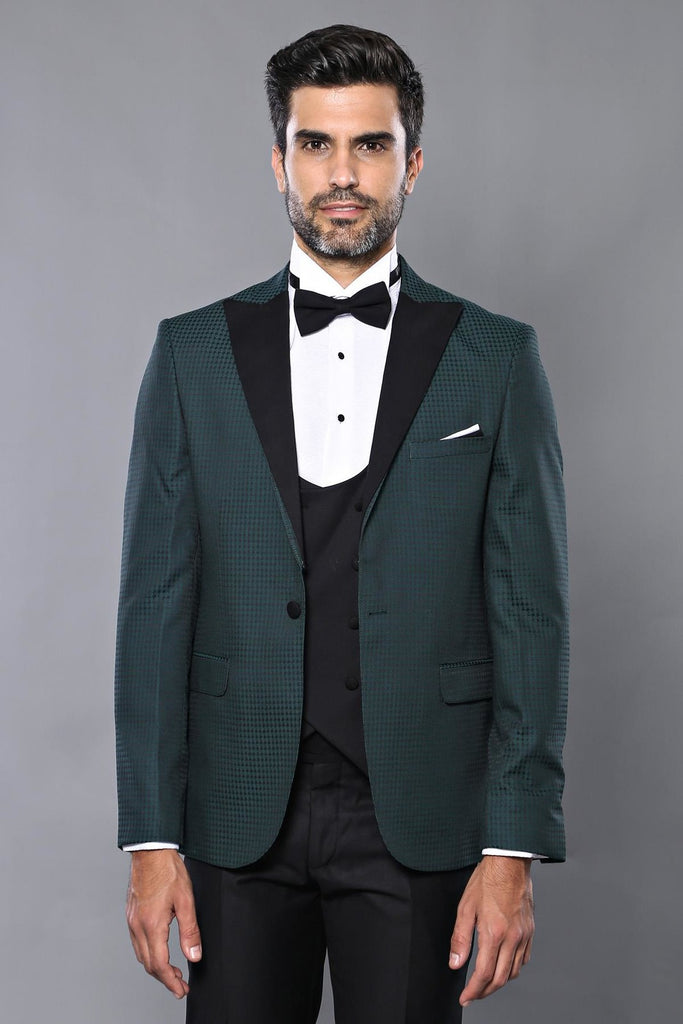 Men's Checkered Green Formal Suit Set