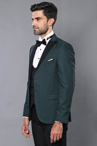 Image of Men's Checkered Green Formal Suit Set