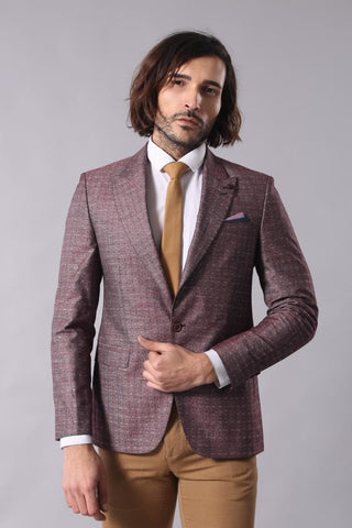 Image of Men's Patterned Claret Red Linen Jacket