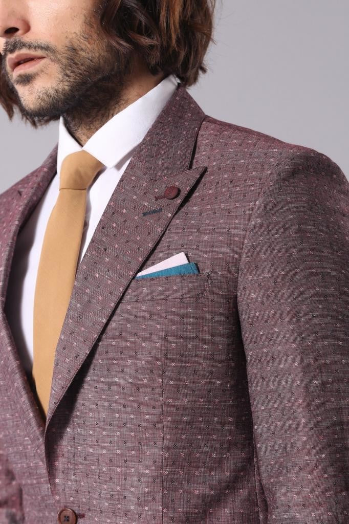 Men's Patterned Claret Red Linen Jacket