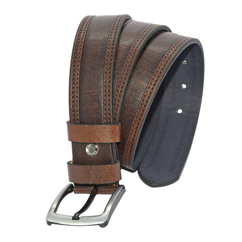 Men's Stitched Dark Brown Artificial Leather Sport Belt- 4 cm