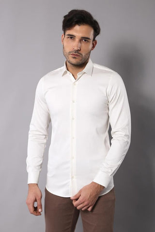 Image of Men's Cream Cotton Satin Shirt