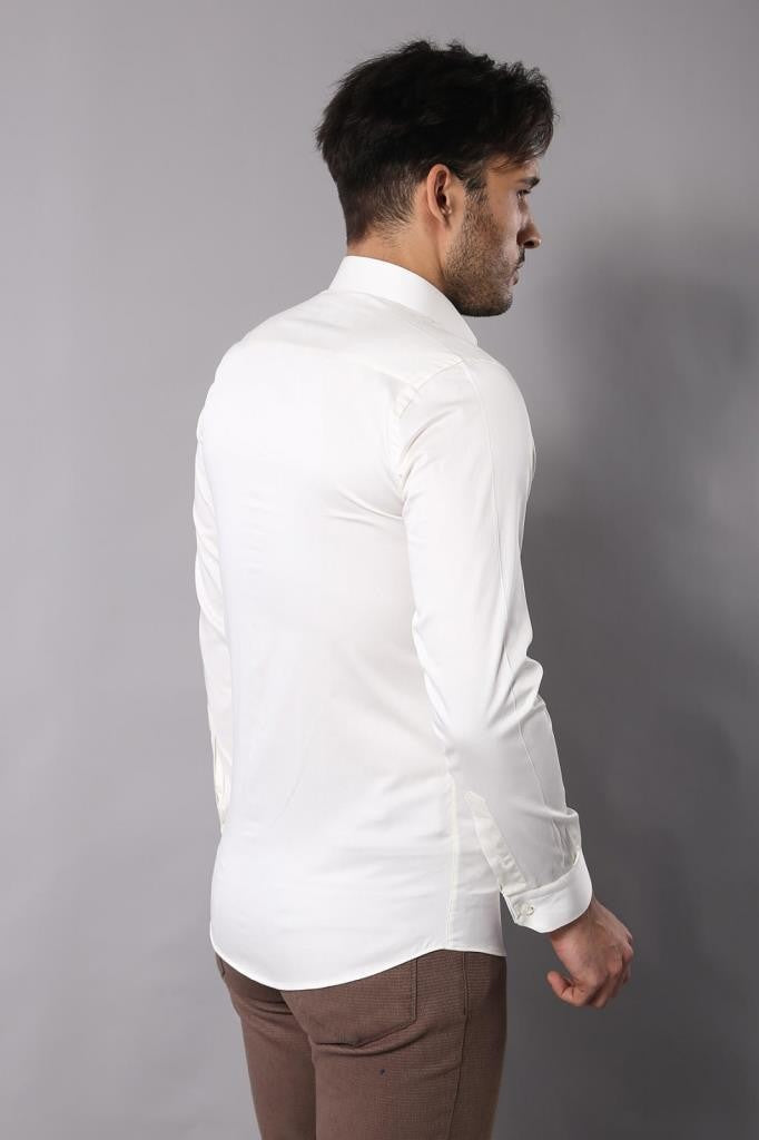 Men's Cream Cotton Satin Shirt