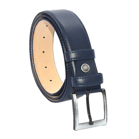 Men's Plain Navy Blue Artificial Leather Classic Belt- 3.5 cm