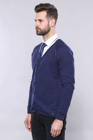 Men's Navy Blue Cotton Cardigan