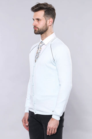 Image of Men's Ice Blue Cotton Cardigan