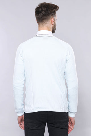 Men's Ice Blue Cotton Cardigan