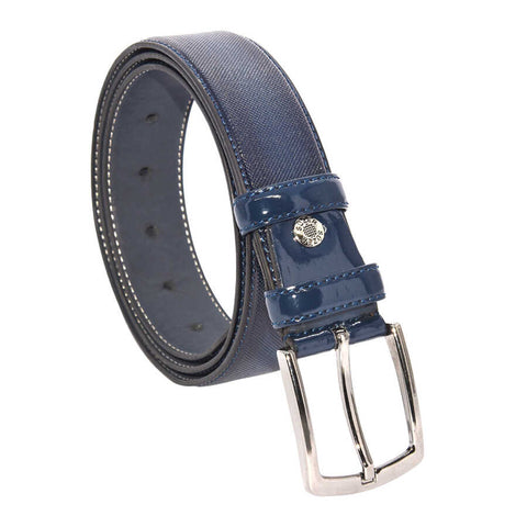 Men's Patterned Navy Blue Patent Artificial Leather Classic Belt- 3.5 cm