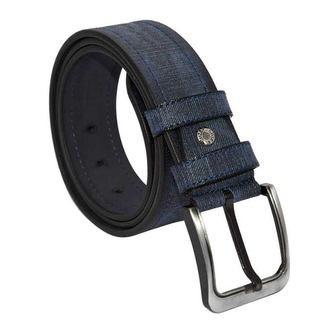 Men's Patterned Navy Blue Artificial Leather Sport Belt- 4.5 cm