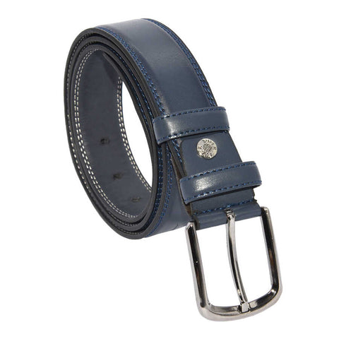 Image of Men's Stitched Navy Blue Artificial Leather Classic Belt- 3.5 cm