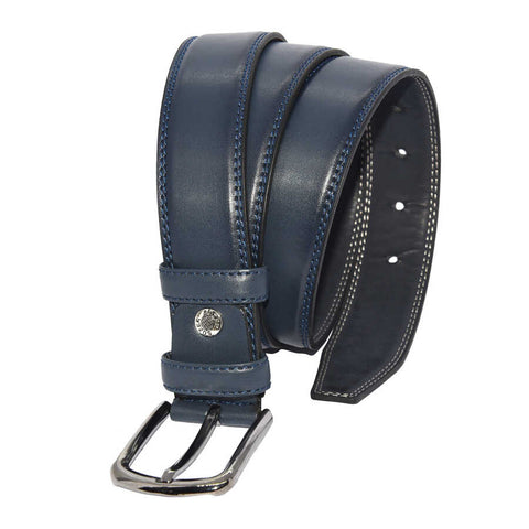 Men's Stitched Navy Blue Artificial Leather Classic Belt- 3.5 cm