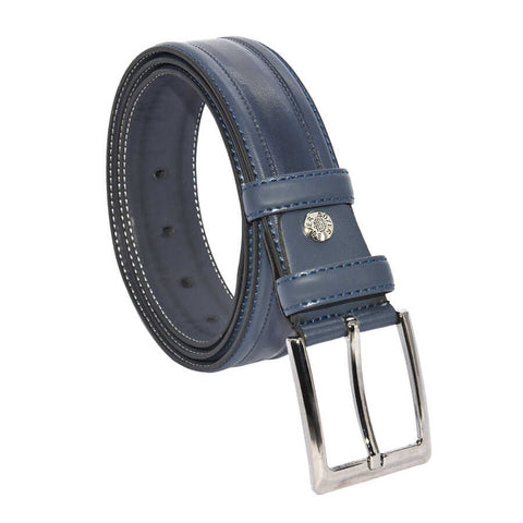 Men's Patterned Navy Blue Artificial Leather Classic Belt- 3.5 cm