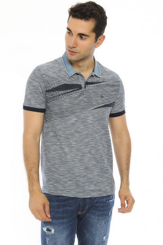 Image of Men's Oversize Polo Collar Grey T-shirt