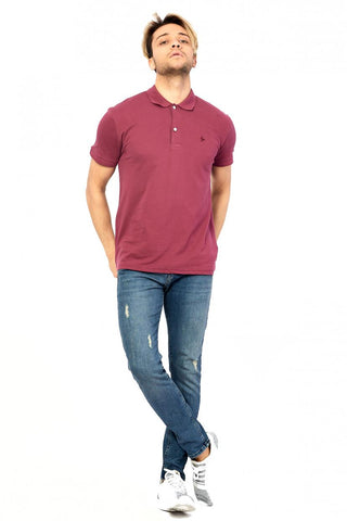 Image of Men's Polo Collar Claret Red Lycra T-shirt
