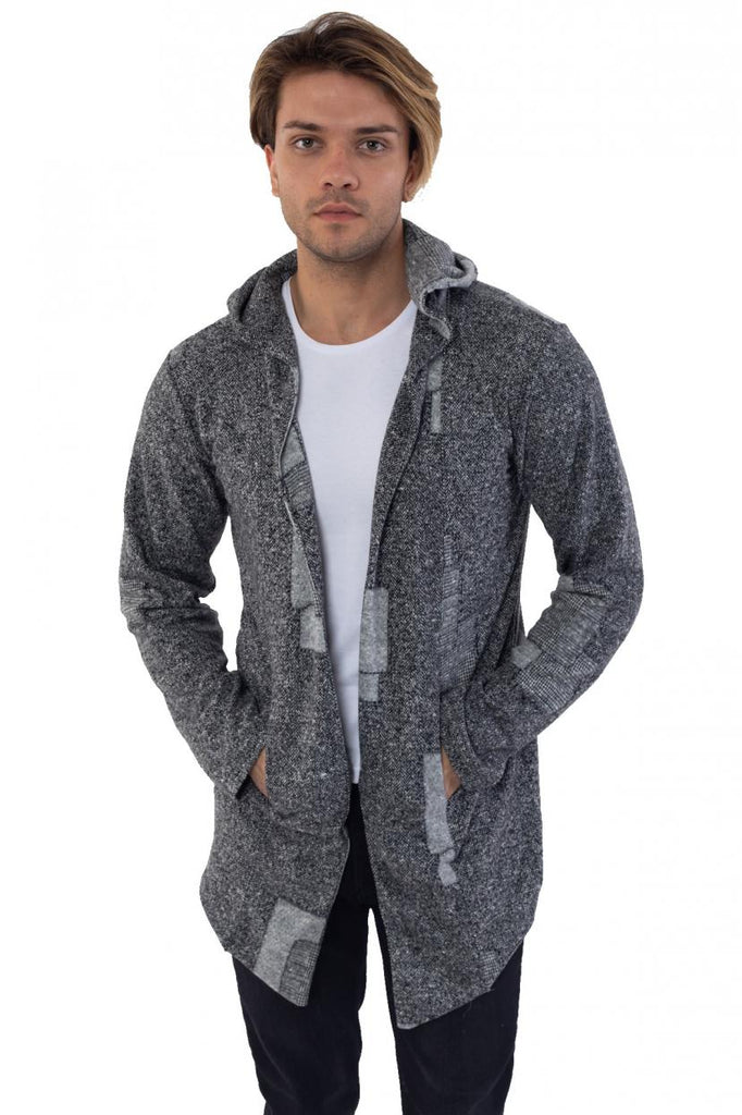 Men's Hooded Patterned Grey Fleece Cardigan