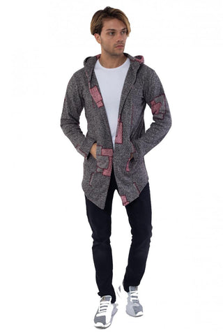 Image of Men's Hooded Patterned Grey Fleece Cardigan