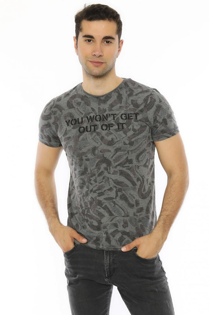Men's Collarless Patterned Green Slim Fit T-shirt
