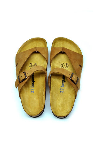 Image of Women's Anatomical Natural Footbed Sand Beige Leather Slippers