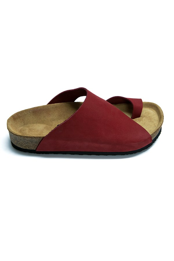 Women's Anatomical Natural Footbed Red Leather Slippers