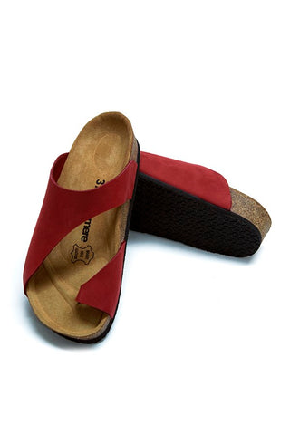 Image of Women's Anatomical Natural Footbed Red Leather Slippers