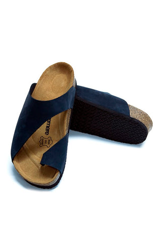 Image of Women's Anatomical Natural Footbed Navy Blue Leather Slippers