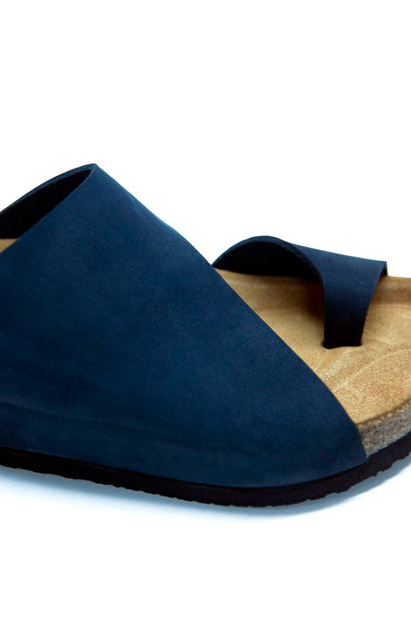 Women's Anatomical Natural Footbed Navy Blue Leather Slippers