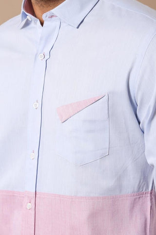 Image of Men's Light Blue Pink Shirt