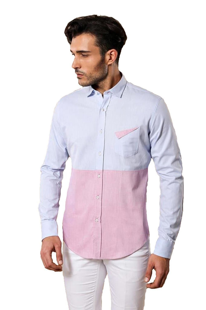 Men's Light Blue Pink Shirt