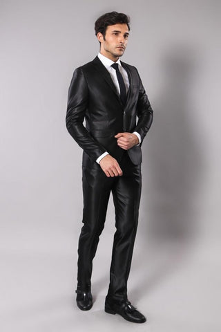 Men' Shiny Black Formal Suit Set