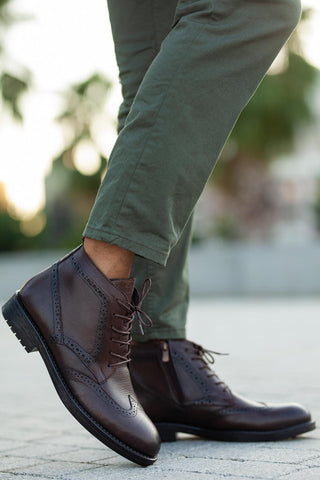 Image of Men's Lace-up Black Leather Boots